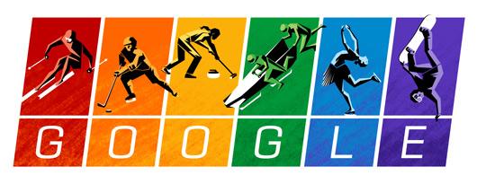 Google-Doodle zum Start der olympischen Winterspiele in Sotschi in den Farben der Regenbogenflagge.