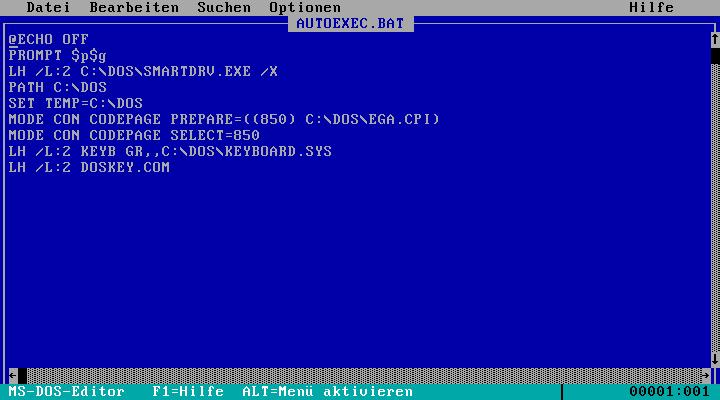 Basiskonfiguration AUTOEXEC.BAT