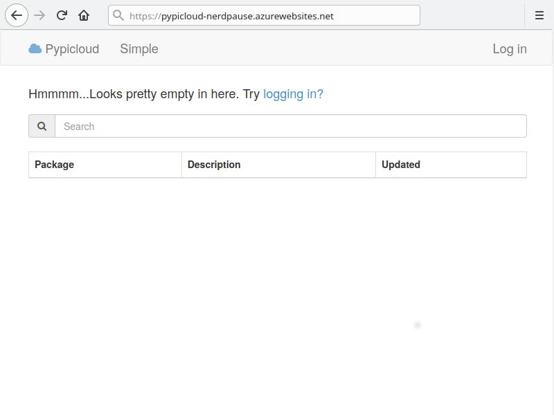 Startseite der Pypicloud Webanwendung